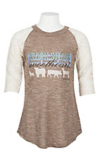 Southern Grace Girls Brown and Cream Stock Show Sweetheart Shirt