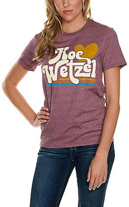Women's Maroon Koe Wetzel Heart Graphic Short Sleeve T-Shirt