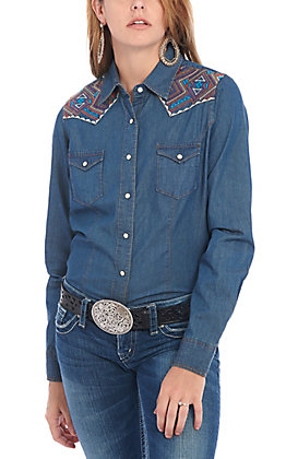 Cowgirl Legend Women's Denim with Aztec Embroidery Long Sleeve Western Shirt
