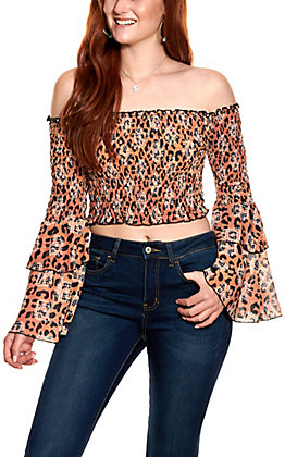 Lucky & Blessed Women's Leopard Print Smocked Long Sleeve Crop Top