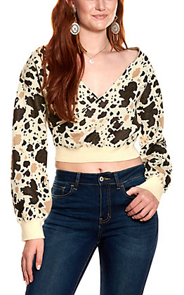 Lucky & Blessed Women's Cream Mixed Cow Print Cropped Long Sleeve Sweater