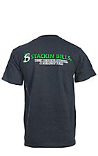 Stackin Bills Men's Charcoal Grey with Green & White Logo S/S Tee