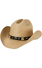 Cavenders Natural Raffia Cattleman Crown w/ Beaded Band Straw Cowboy Hat
