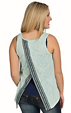 Surf Gypsy Women's Mint Tribal Tape Fly Back Top