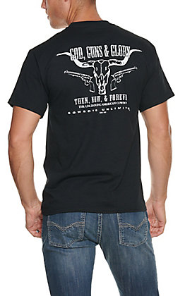 Moss Brothers Cowboys Unlimited Men's Black Guns and Glory Short Sleeve T-Shirt
