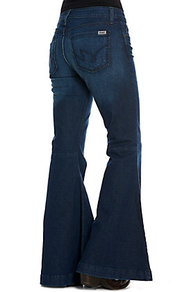 Cruel Denim Women's Hannah Dark Wash Wide Flare Leg Jeans