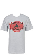Cowboys Unlimited Men's Grey Bronc Rider Hustle Hard Stay Humble Short Sleeve Tee