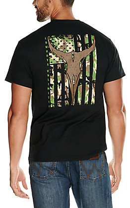 Moss Brothers Cowboys Unlimited Men's Black Longhorn Camo Flag Short Sleeve T-Shirt