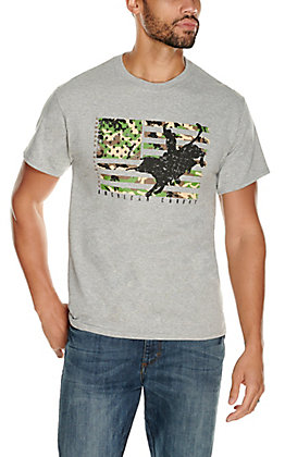 Moss Brothers Cowboys Unlimited Men's Grey Camo Flag Bull Rider Short Sleeve T-Shirt