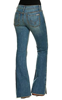 Cruel Denim Women's Hannah Medium Wash Med Rise Split Flare Jeans