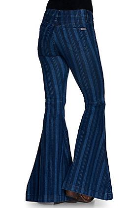 Cruel Girl Women's Hannah Dark Stripes Wide Flare Leg Jeans