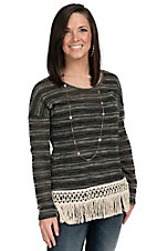 Vintage Havana Women's Black & Cream Stripe with Fringe Long Sleeve Top