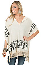 Vintage Havana Women's Ivory with Aztec Print & Fringe Hooded Poncho