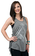 Vintage Havana Women's Grey Tribal Print with Fringe Tank