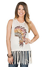 Vintage Havana Women's Oatmeal with Headdress Screen Print and Fringe Sleeveless Casual Knit Top