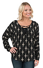 Vintage Havana Women's Black with Cream Diamond Print Lace Up Dolman Long Sleeve Fashion Top
