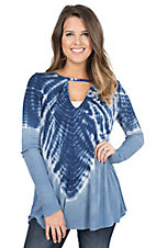 Vintage Havana Women's Blue Tie Dye with Keyhole Long Sleeve Casual Knit Top