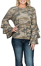 Vintage Havana Women's Camo 3 Tier Bell Sleeve Fashion Shirt