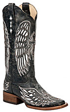 Corral Ladies Distressed Black w/Winged Cross White Inlay Square Toe Western Boot