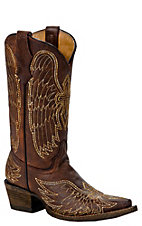 Corral Boot Company Kids Brown w/ Stitched Winged Cross  Snip Toe Western Boots