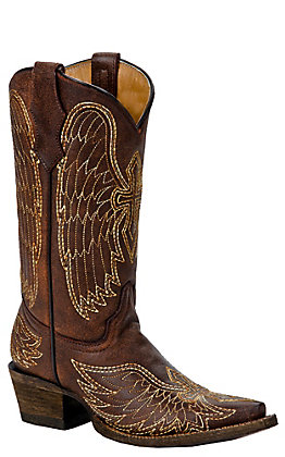 Corral Kids Brown with Stitched Winged Cross Snip Toe Western Boots
