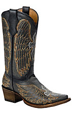 Corral Boot Company Kids Distressed Black Winged Cross Snip Toe Western Boots