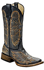 Corral Boot Company Kids Distressed Black Winged Cross Square Toe Western Boots