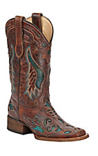 Corral Ladies Distressed Cognac Brown w/ Turquoise Inlay Square Toe Western Boots