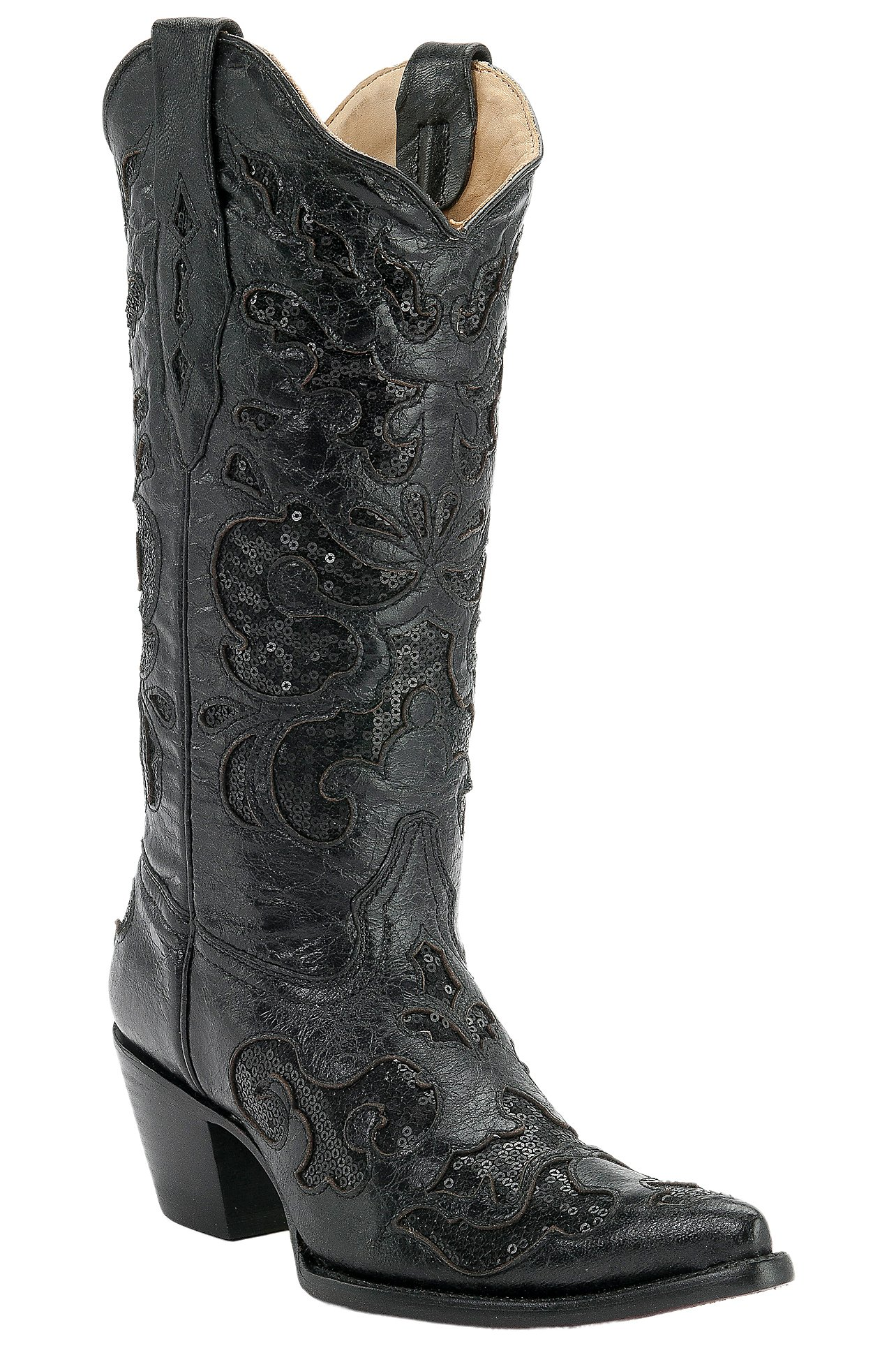 Corral Ladies Black w/ Black Sequined Inlay Pointed Toe Western ...
