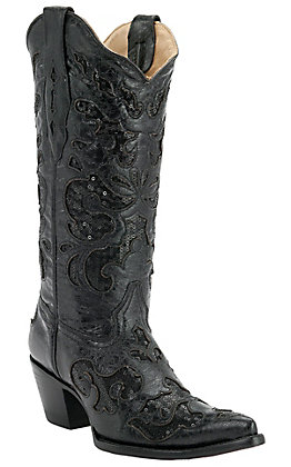 Corral Ladies Black with Black Sequined Inlay Pointed Toe Western Boots