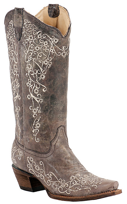 7d9d079994a Corral Women's Distressed Brown with Bone Embroidery Snip Toe Western Boots
