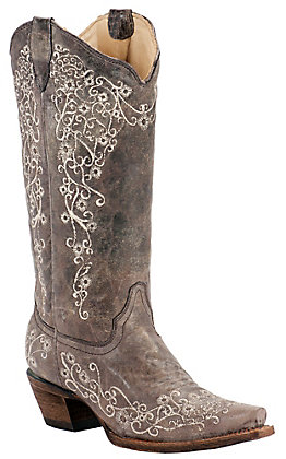 Corral Ladies Distressed Brown with Bone Embroidery Snip Toe Western Boots