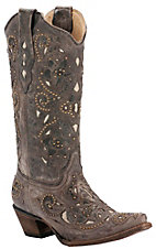 Corral Ladies Distressed Brown w/ Bone Inlay & Bronze Studs Snip Toe Western Boots