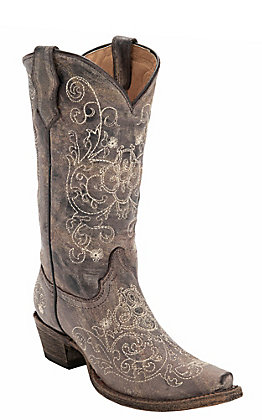 Corral Kid's Distressed Brown with Fancy Beige Embroidery Snip Toe Western Boots