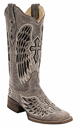Corral Women's Distressed Brown with Winged Cross Black Sequin Inlay Square Toe Western Boot