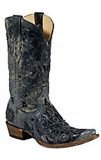Corral Men's Distressed Black with Black Caiman Inlay Snip Toe Western Boots