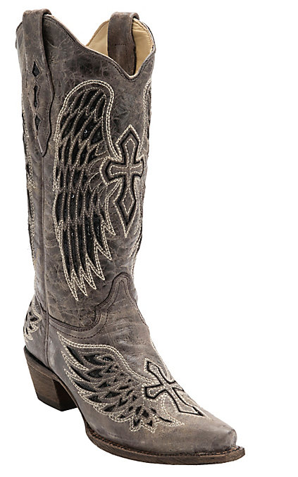 a1fe1460dea Corral Women's Distressed Brown with Winged Cross Black Sequin Inlay Snip  Toe Western Boot