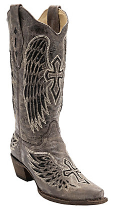 Corral Ladies Distressed Brown with Winged Cross Black Sequin Inlay Snip Toe Western Boot