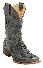 Corral Men's Distressed Black w/ Black Caiman Inlay Square Toe Western Boots