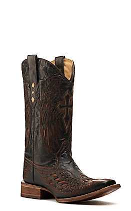 Corral Men's Distressed Chocolate & Cognac Inlay Winged Cross Square Toe Western Boots