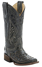 Corral Ladies Distress Black w/ Black Inlay Square Toe Boots