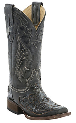 Corral Ladies Distress Black with Black Inlay Square Toe Boots