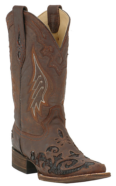 Corral Women's Distressed Brown with Dark Brown Python Inlay Square Toe  Western Boot