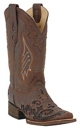 Corral Women's Distressed Brown with Dark Brown Python Inlay Square Toe Western Boots