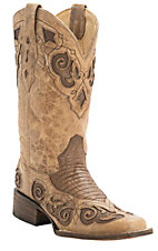 Corral Rodeo Collection Women's Antique Saddle Tan w/Brown Teju Lizard Inlay Double Welt Square Toe Western Boots
