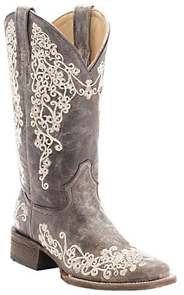 Corral Women's Distressed Brown with Bone Embroidery Square Toe Western Boots