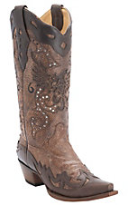 Corral Ladies Brown w/ Chocolate Eagle Inlay and Wingtip Snip Toe Western Boots