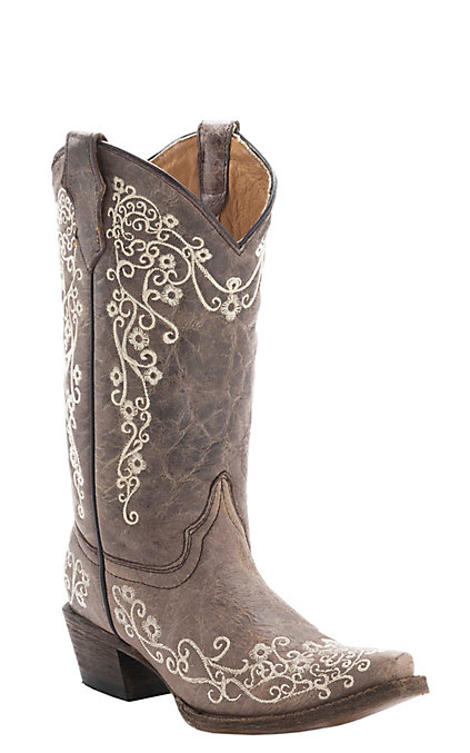 7786bd84156 Corral Kid's Distressed Tan with Ivory Embroidery Snip Toe Western Boots