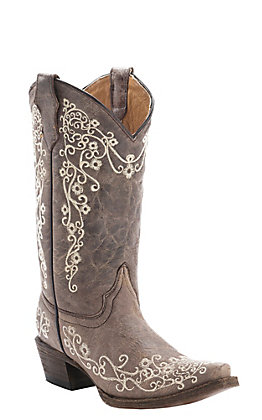 Corral Kids Distressed Tan with Ivory Embroidery Snip Toe Western Boots