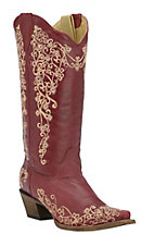 Corral Ladies Red w/Cream Embroidery Snip Toe Western Boots